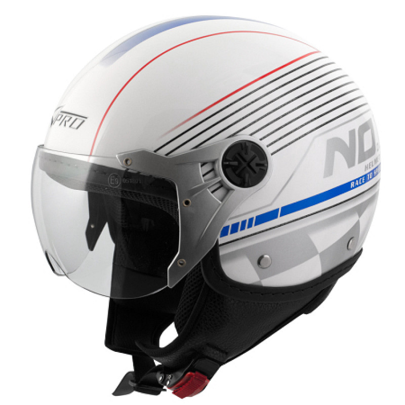 Каска за скутер A-PRO FIFTY GRAPHIC WHITE/BLUE/RED