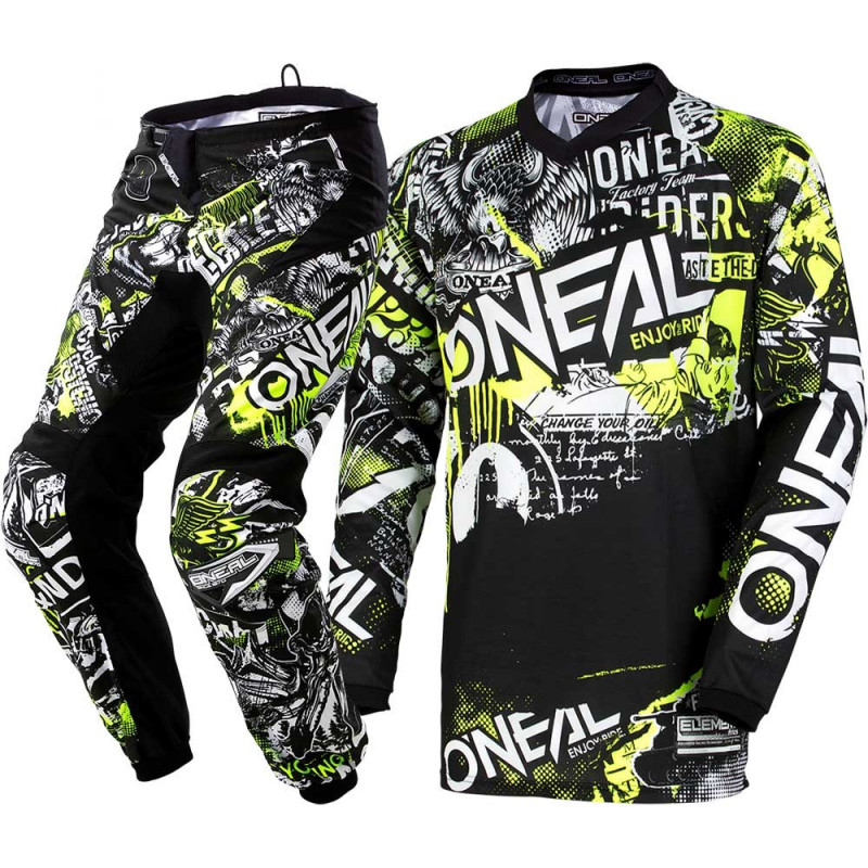 Мотокрос екип O'NEAL ELEMENT ATTACK BLACK/HI-VIZ 2020