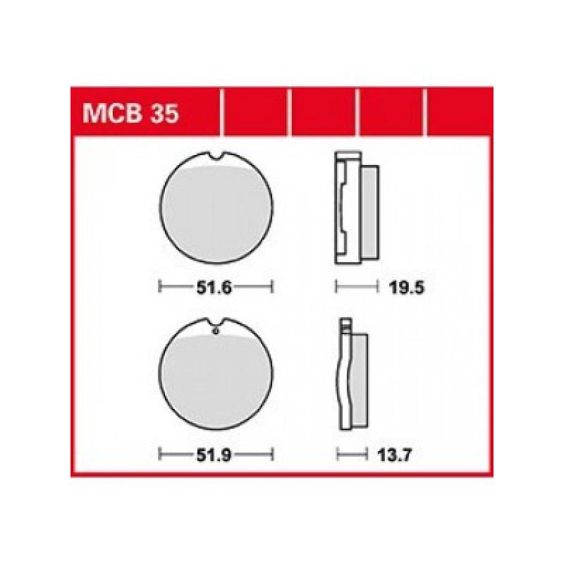 Мото накладки TRW MCB35