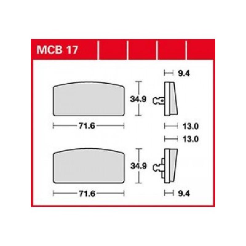 Мото накладки TRW MCB17