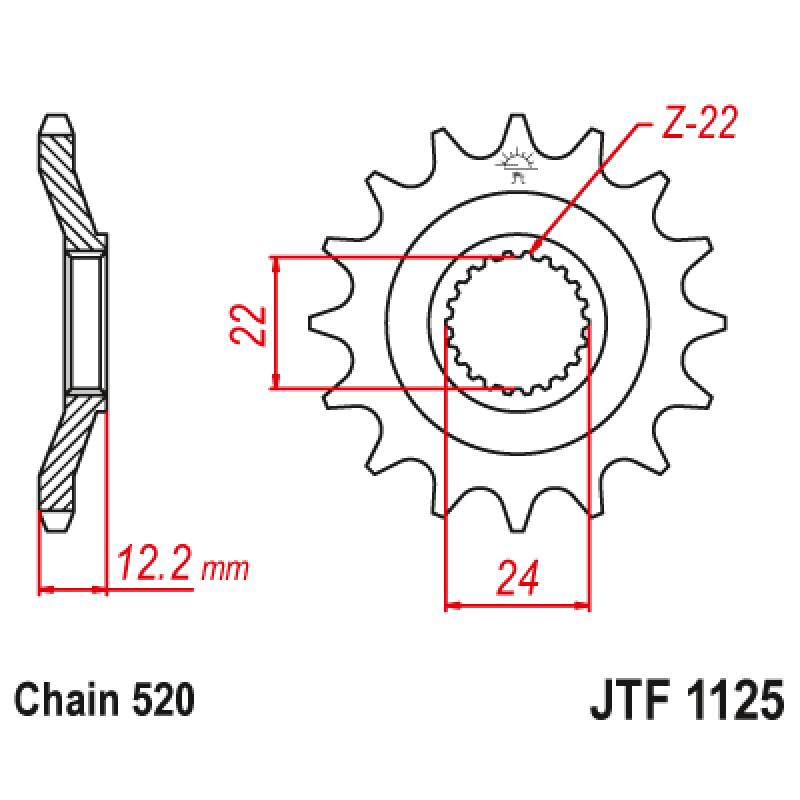 Предно зъбчато колело (пиньон) JTF1125,16