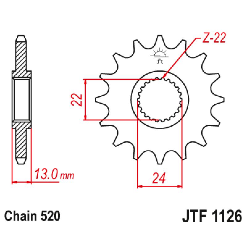 Предно зъбчато колело (пиньон) JTF1126,16