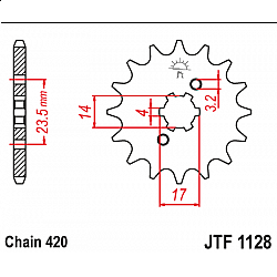 Предно зъбчато колело (пиньон) JTF1128,13