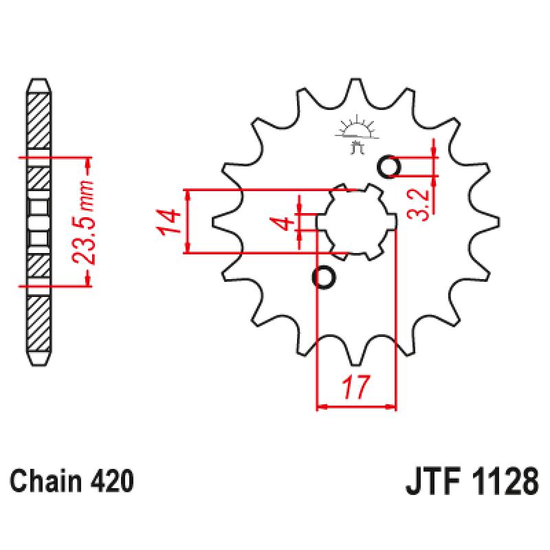 Предно зъбчато колело (пиньон) JTF1128,11