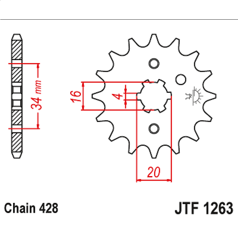 Предно зъбчато колело (пиньон) JTF1263,16