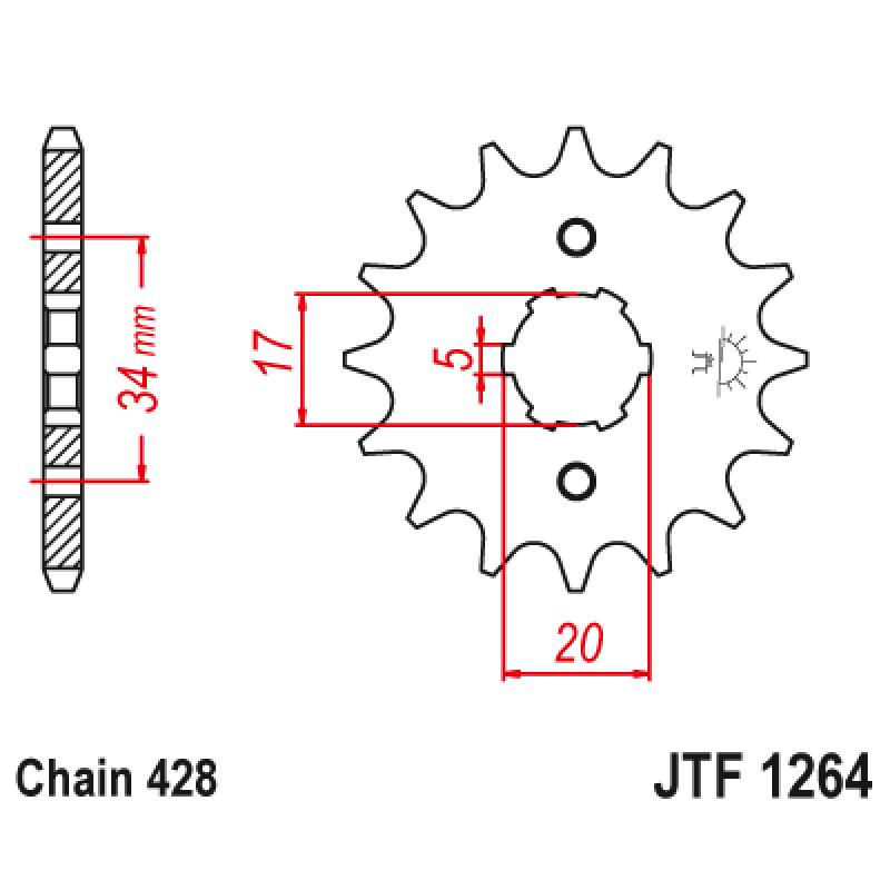 Предно зъбчато колело (пиньон) JTF1264,16