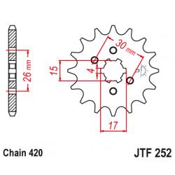 Предно зъбчато колело (пиньон) JTF252,12