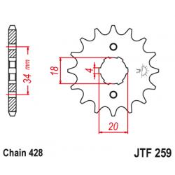 Предно зъбчато колело (пиньон) JTF259,14