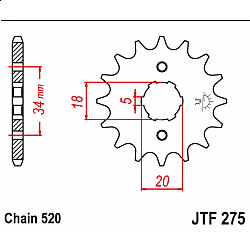 Предно зъбчато колело (пиньон) JTF275,15