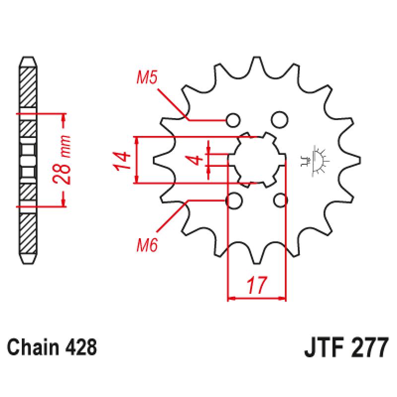 Предно зъбчато колело (пиньон) JTF277,13