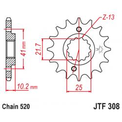 Предно зъбчато колело (пиньон) с успокоител за вибрации JTF308,15RB