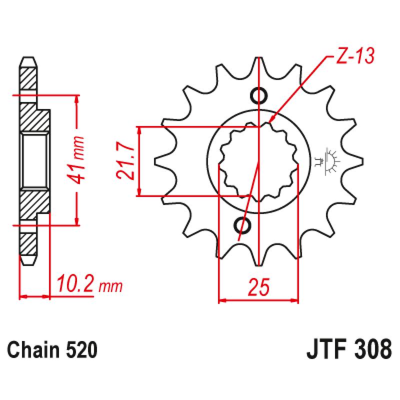 Предно зъбчато колело (пиньон) JTF308,13