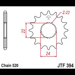 Предно зъбчато колело (пиньон) JTF394,17