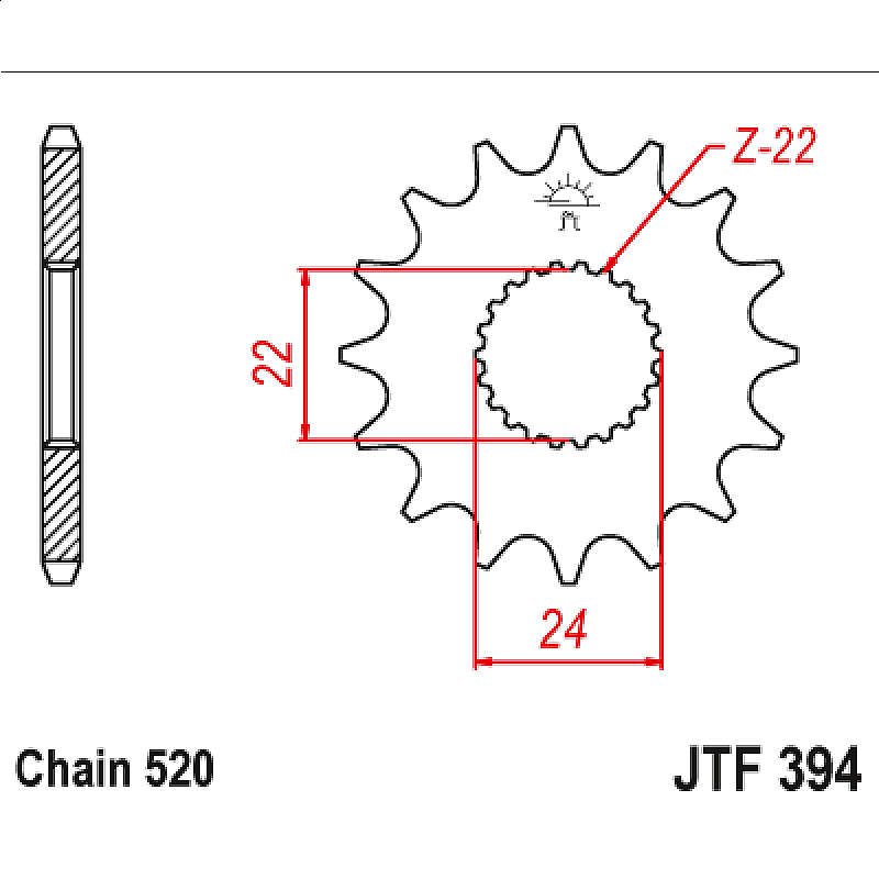 Предно зъбчато колело (пиньон) JTF394,13
