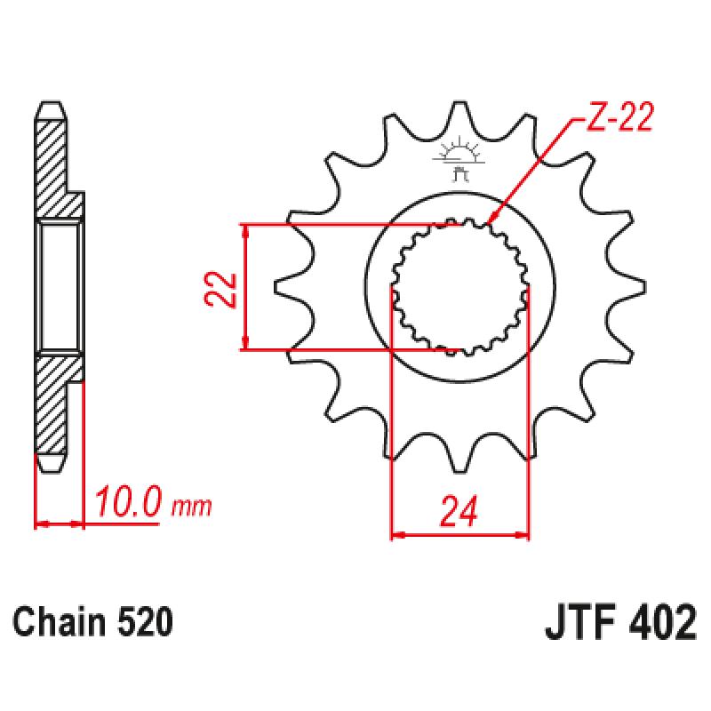 Предно зъбчато колело (пиньон) JTF402,17