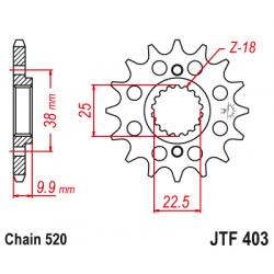 Предно зъбчато колело (пиньон) JTF403,15