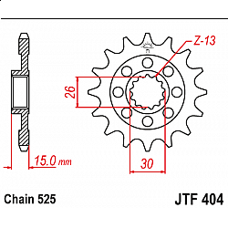 Предно зъбчато колело (пиньон) JTF404,15