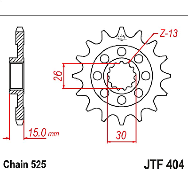 Предно зъбчато колело (пиньон) JTF404,14