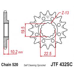 Предно самопочистващо  зъбчато колело (пиньон) JTF432,14SC