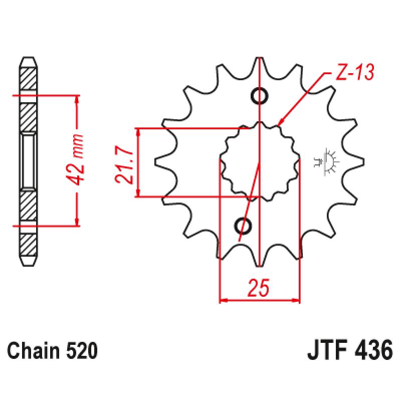 Предно зъбчато колело (пиньон) JTF436,14