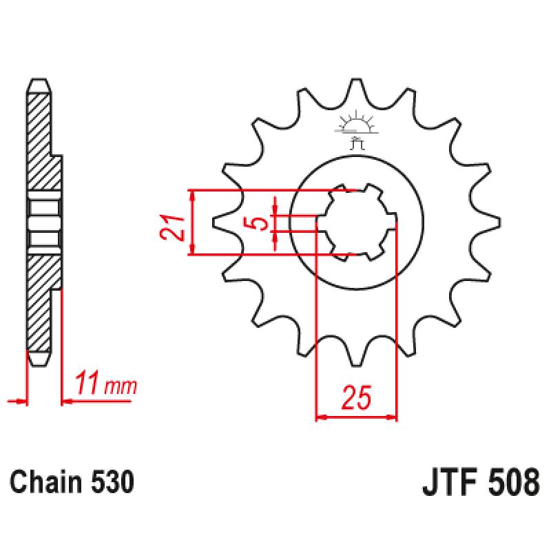 Предно зъбчато колело (пиньон) JTF508,15