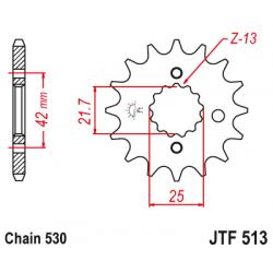 Предно зъбчато колело (пиньон) с успокоител за вибрации JTF513,17RB