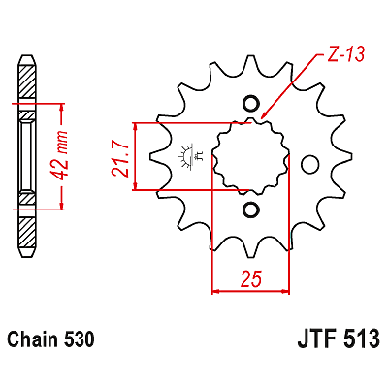 Предно зъбчато колело (пиньон) с успокоител за вибрации JTF513,18RB
