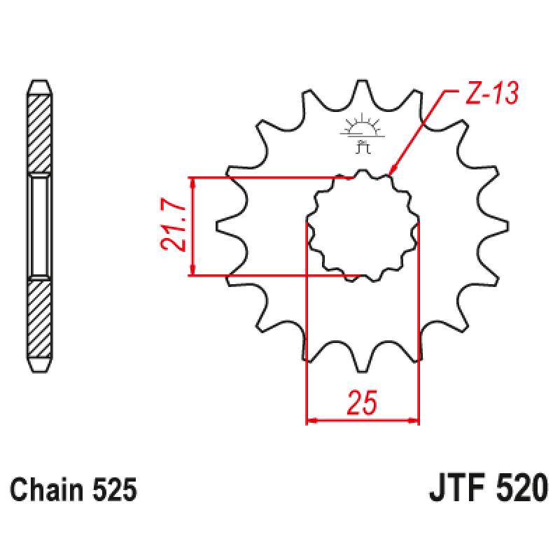 Предно зъбчато колело (пиньон) с успокоител за вибрации JTF520,15RB