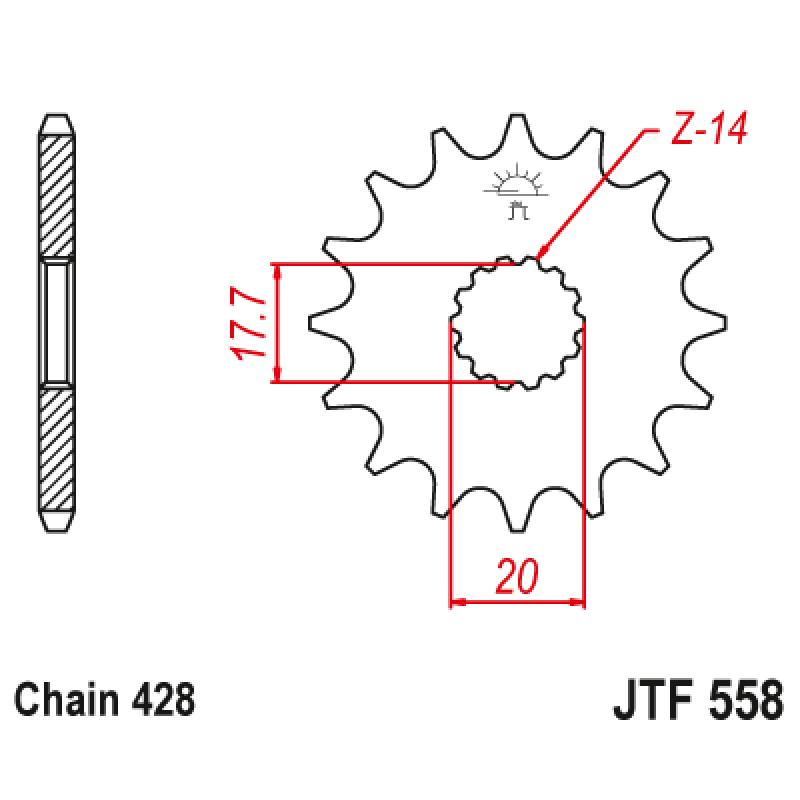 Предно зъбчато колело (пиньон) JTF558,17