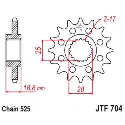 Предно зъбчато колело (пиньон) с успокоител за вибрации JTF704,17RB