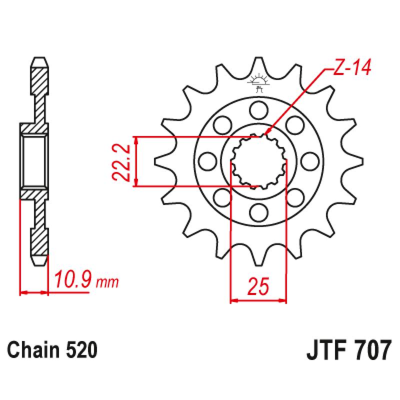 Предно зъбчато колело (пиньон) JTF707,14