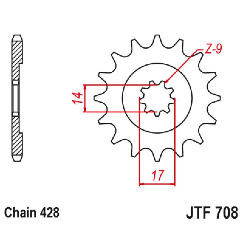 Предно зъбчато колело (пиньон) JTF708,14