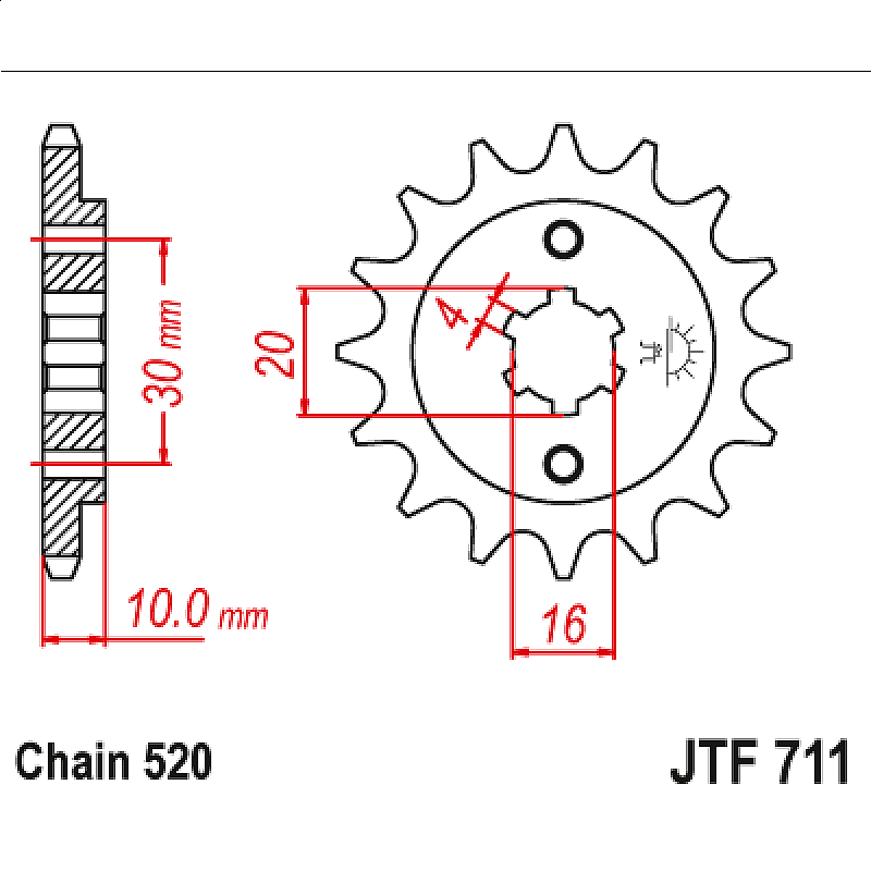 Предно зъбчато колело (пиньон) JTF711,14