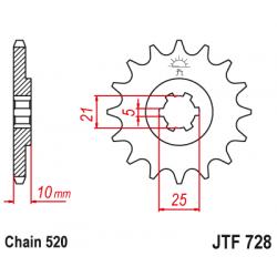 Предно зъбчато колело (пиньон) JTF728,16