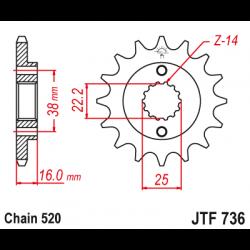Предно зъбчато колело (пиньон) JTF736,16