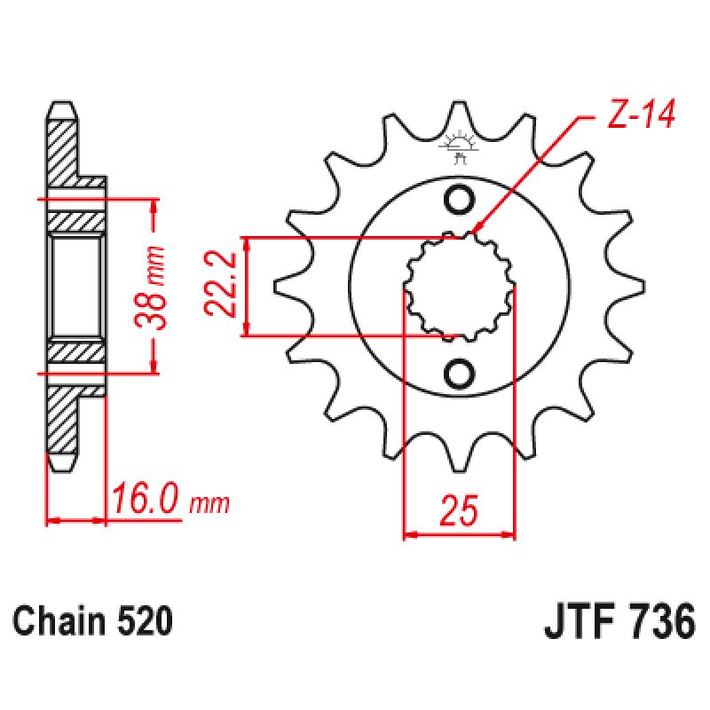 Предно зъбчато колело (пиньон) JTF736,15