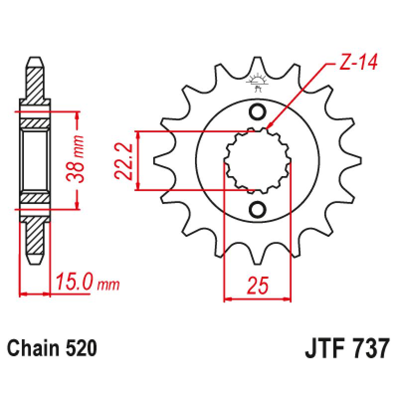 Предно зъбчато колело (пиньон) JTF737,14