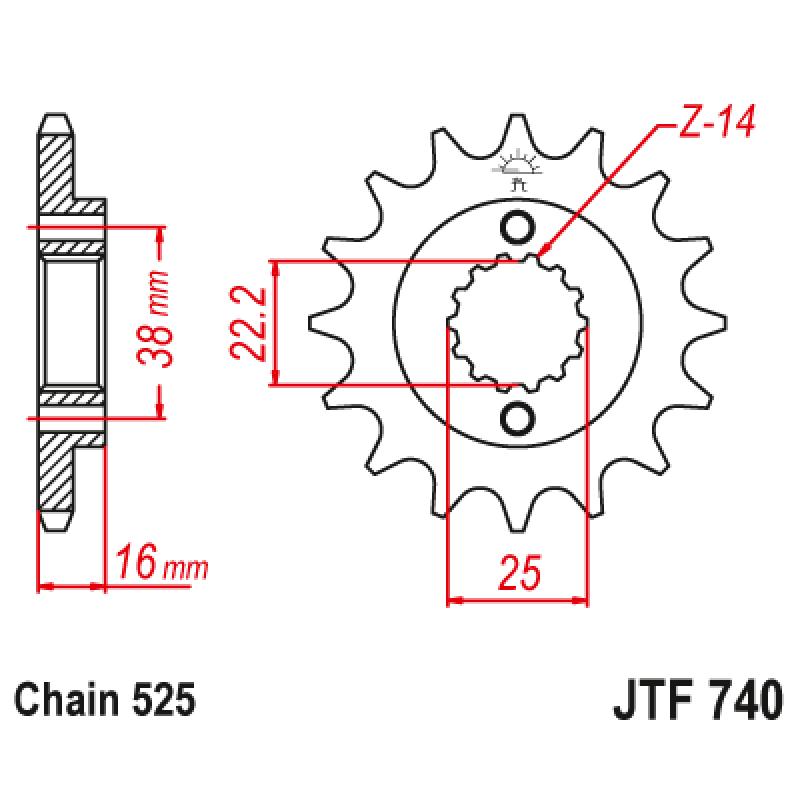 Предно зъбчато колело (пиньон) JTF740,14