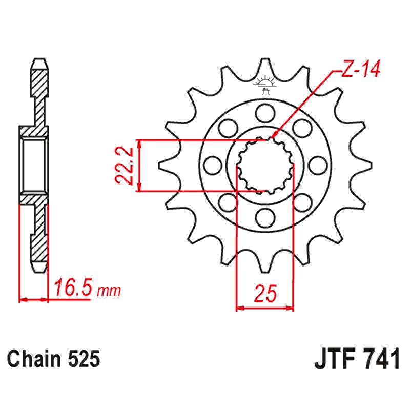 Предно зъбчато колело (пиньон) JTF741,14