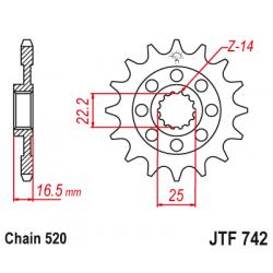 Предно зъбчато колело (пиньон) JTF742,14