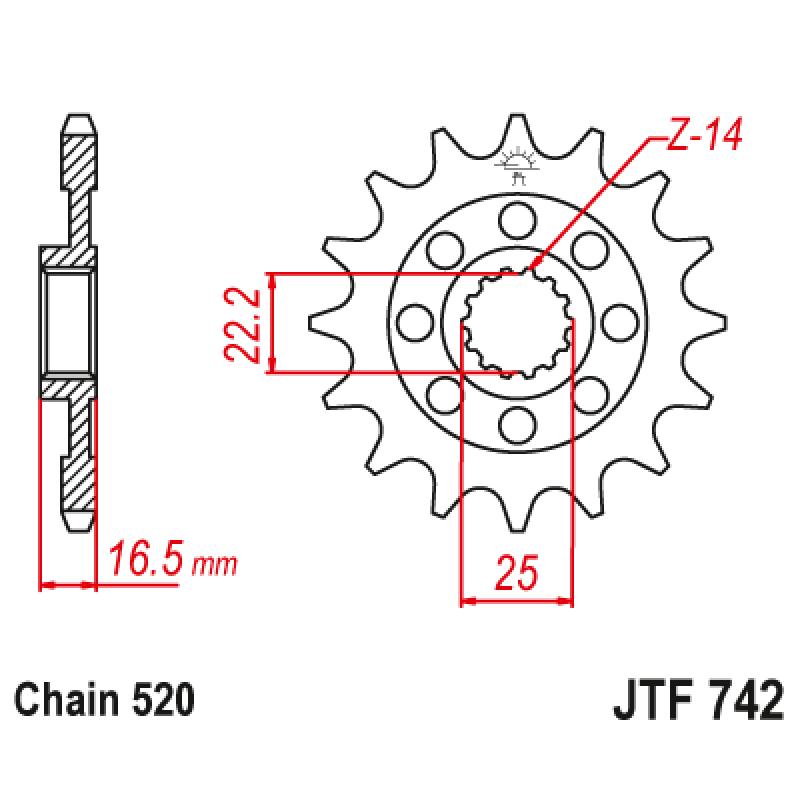 Предно зъбчато колело (пиньон) JTF742,15
