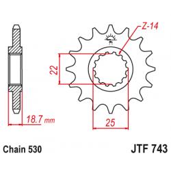 Предно зъбчато колело (пиньон) JTF743,15
