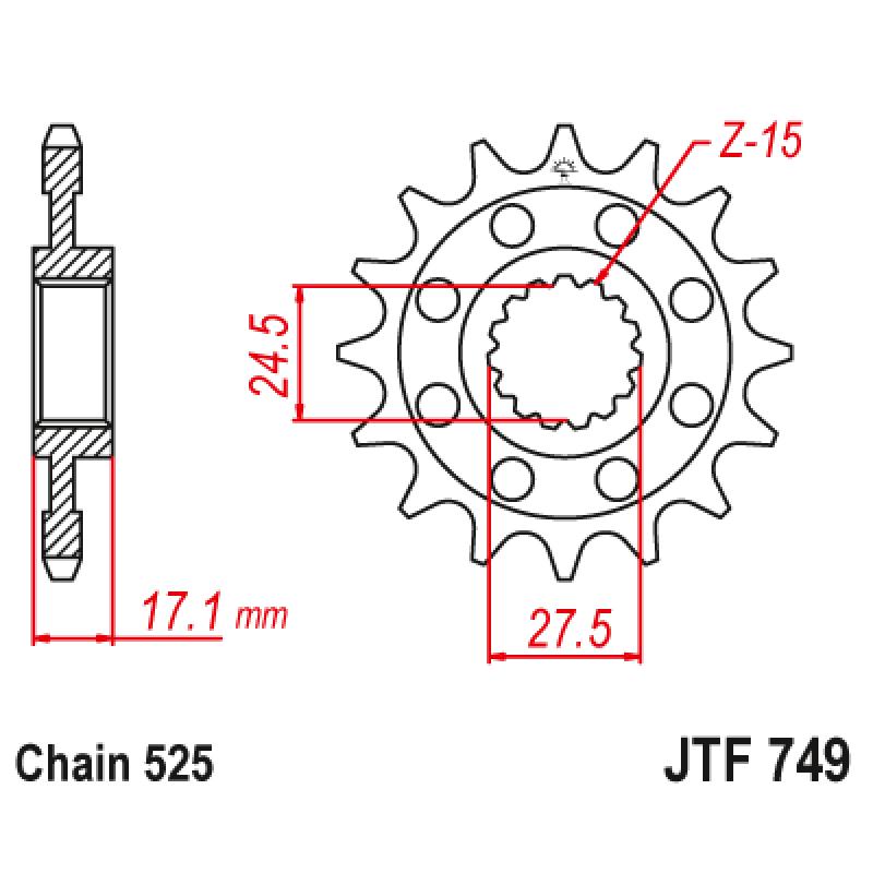 Предно зъбчато колело (пиньон) JTF749,15