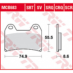 Мото накладки TRW MCB683