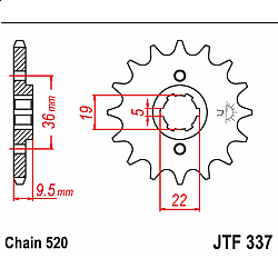 Предно зъбчато колело (пиньон) JTF337,12