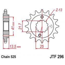 Предно зъбчато колело (пиньон) с успокоител за вибрации JTF296,15RB