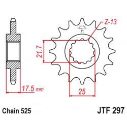 Предно зъбчато колело (пиньон) с успокоител за вибрации JTF297,15RB