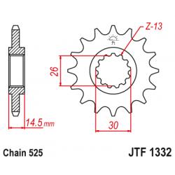 Предно зъбчато колело (пиньон) с успокоител за вибрации JTF1332,15RB