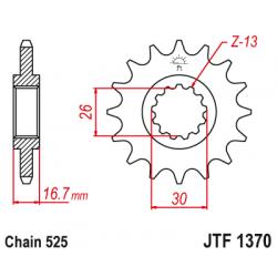 Предно зъбчато колело (пиньон) с успокоител за вибрации JTF1370,15RB