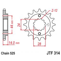 Предно зъбчато колело (пиньон) с успокоител за вибрации JTF314,16RB